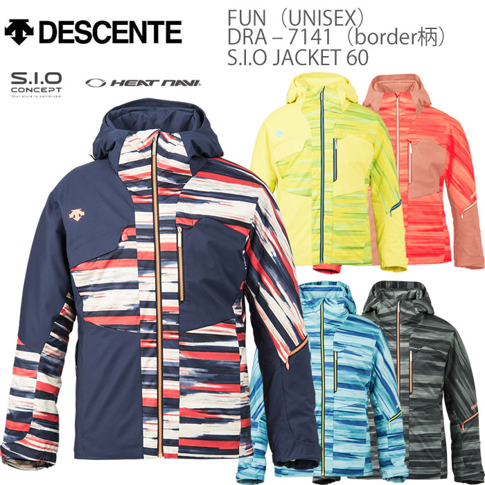スキーウェア ジャケット/DESCENTE デサント FUN S.I.O JACKET 60/DRA-7141 ボーダープリント(2018)