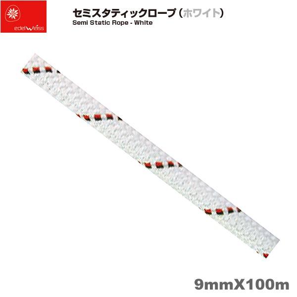 エーデルワイス EDELWEISS セミスタティックロープ ホワイト Semi Static Rope - White 9mm×100m 【EW0207】