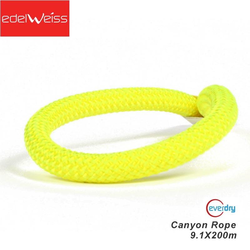 エーデルワイス EDELWEISS セミスタティックロープ キャニオンロープ Canyon Rope 9.1mm×200m イエロー エバードライ クライミング 沢歩き 【EW0279】