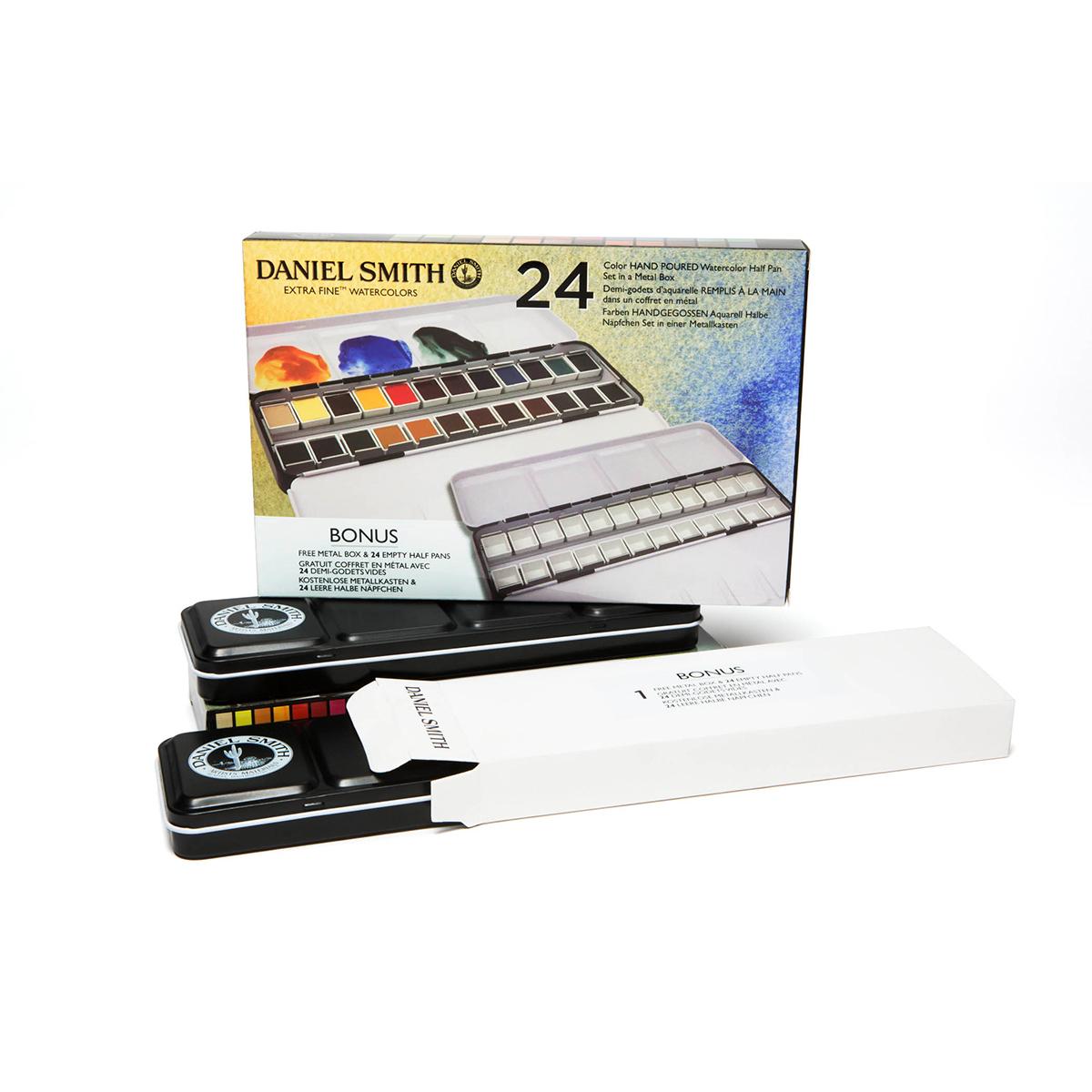 DANIEL SMITH 24色 ハーフパンセット 出荷 スミス ダニエル メタルボックス入り 水彩絵具 !超美品再入荷品質至上!