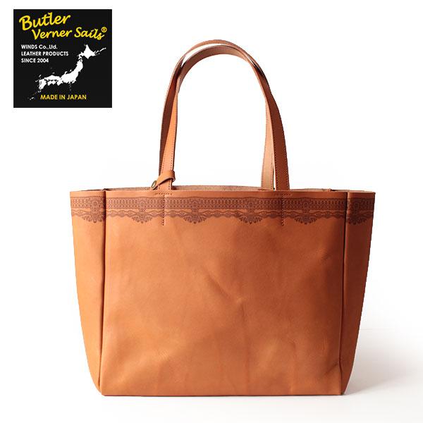 バトラーバーナーセイルズ Butler Verner Sails ビッグトートバッグ 牛ヌメ革 レーザー刻彫 かばん 鞄 メンズ レディース