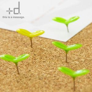 小さな新芽が壁から顔を出しました 安心と信頼 文房具 +d 実物 グリーンピン Green Pin 日本製 押しピン 新生活 画びょう アッシュコンセプト プラスディー メール便可 かわいい 画鋲