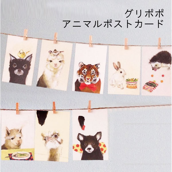 絶妙な表情の動物たちがポストカードに guripopo 動物 かわいい はがき 選択 インテリア メッセージカード 公式サイト ギフト アニマル ハガキ メール便可 グリポポ GURIPOPO 日本製 ポストカード