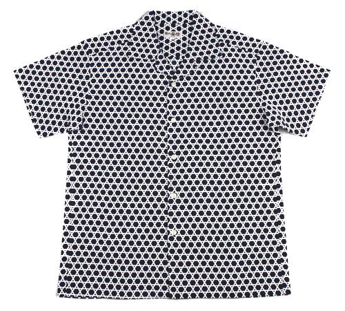 手ぬぐいアロハシャツ「カゴメ(かごめ)中 紺」S・M・L・LLサイズクールビズ/エコ/父の日/おとうさん