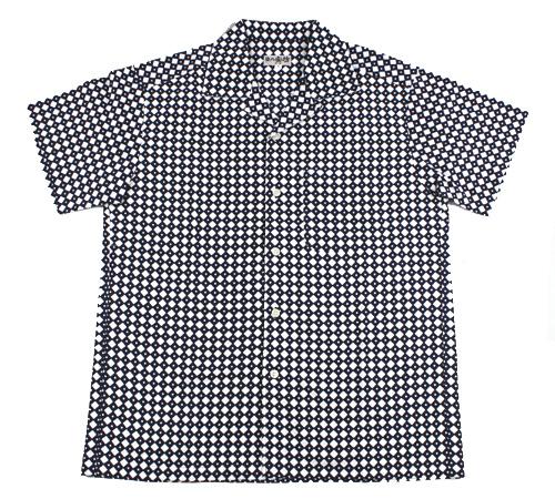 手ぬぐいアロハシャツ「釘抜き 紺」M・L・LLサイズクールビズ/エコ/父の日/おとうさん