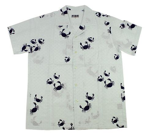 手ぬぐいアロハシャツ「蟹と青海波」S・M・Lサイズクールビズ/エコ/父の日/おとうさん