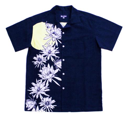 【2019年新作】手ぬぐいアロハシャツ「月下美人」M、Lサイズクールビズ/エコ