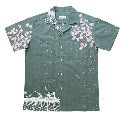 手ぬぐいアロハシャツ「瓦」S・M・L・LLサイズクールビズ/エコ/父の日/スカル/ドクロ/髑髏/桜