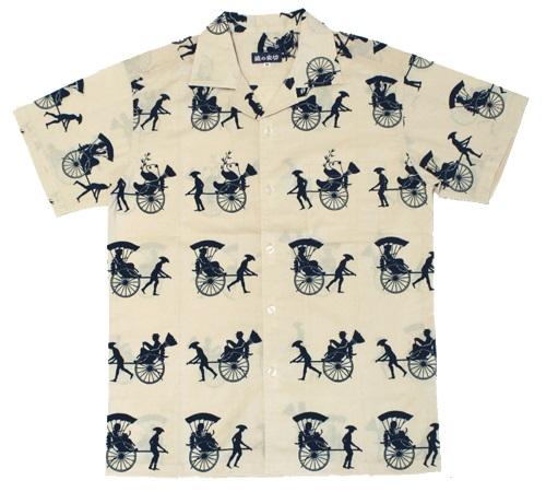 手ぬぐいアロハシャツ「人力車とパンダ 紺」S・M・L・LLサイズクールビズ/エコ/ぱんだ/panda/夏