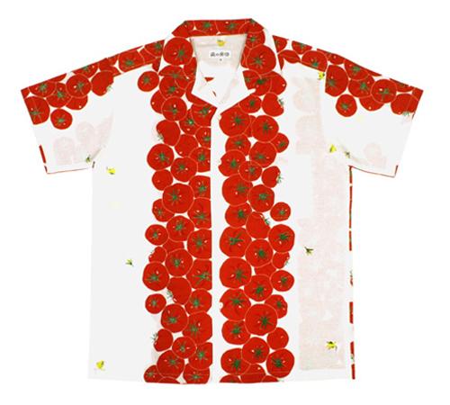 手ぬぐいアロハシャツ「まっかなトマト」S・M・L・LLサイズクールビズ/エコ/父の日/おとうさん
