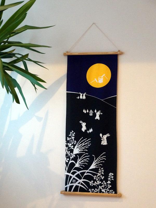 【人気】手ぬぐい「お月見」うさぎ/中秋の名月