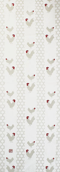 手ぬぐい「籠の外」にわとり/ニワトリ/鶏/Chickens/縁起物/手拭/手拭い/てぬぐい