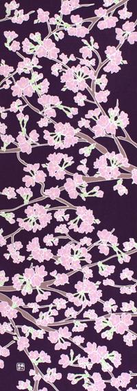 染の安坊オリジナル 本染め手ぬぐい 日本製 手ぬぐい 商店 桜の花 地紫 さくら Blossoms サクラ 引出物 花見 Cherry 春 てぬぐい