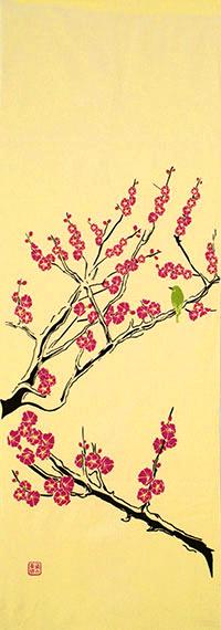 染の安坊オリジナル 本染め手ぬぐい 日本製 往復送料無料 手ぬぐい 梅に鶯 淡黄色 ウメ てぬぐい うめ 鳥 当店は最高な サービスを提供します うぐいす