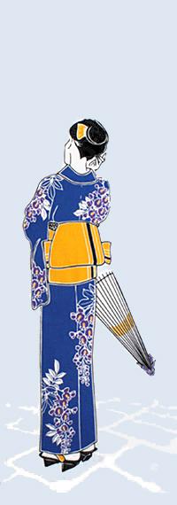 染の安坊オリジナル 本染め手ぬぐい 日本製 手ぬぐい 超人気 専門店 浴衣姿 2020 新作 しだれ藤 夏 和装姿 レトロ 人物 日傘 てぬぐい