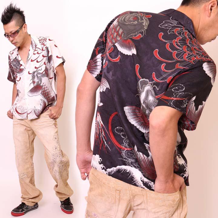 [satori さとり]跳ね双鯉 シルク半袖 和柄アロハシャツ(GSS-401)ジャガード 総柄 菊 【JISHA】 メンズ【SS061430】