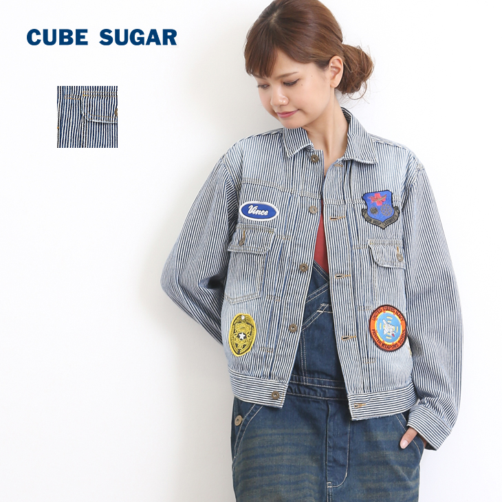 CUBE SUGAR 9.5オンスヒッコリー ワッペン付きGジャン(2色)【キューブシュガー】【レディース】【PL】