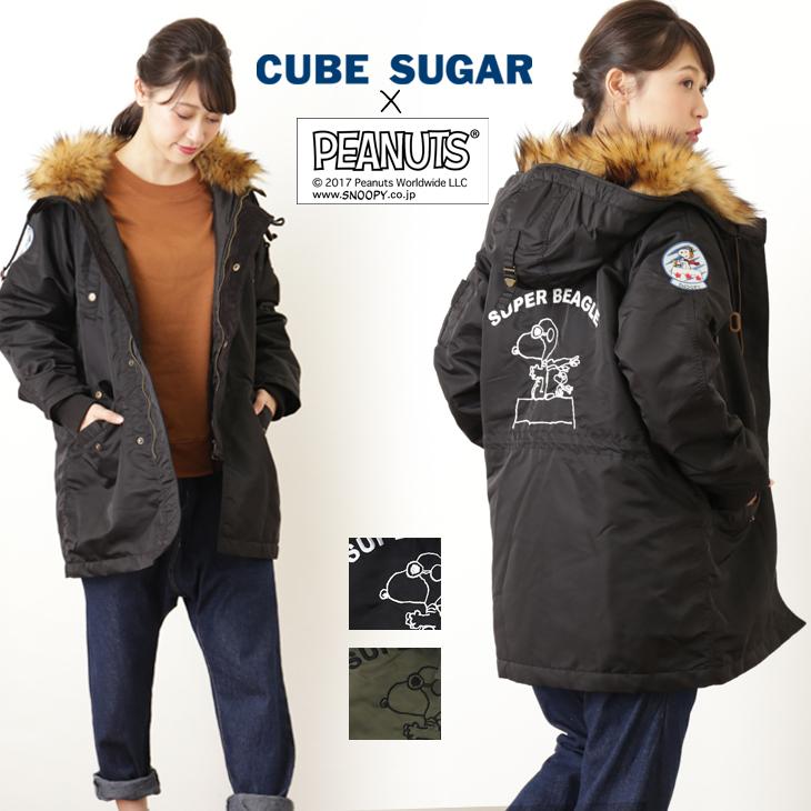CUBE SUGAR クラシックスヌーピー ナイロンツイルN3-B(2色)【レディース】【4U】【ピーナッツ】