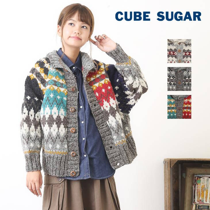 【アウトレット価格】CUBE SUGAR 手編みカウチン襟付きドルマンカーディガン(3色)【レディース】【4U】【ジャガード】【ノルディック】