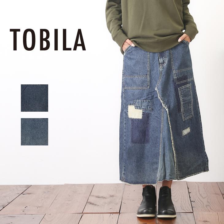 TOBILA(トビラ) デニムリメイク風Aラインスカート (2色)(S/M)【レディース】【4U】【USED風】