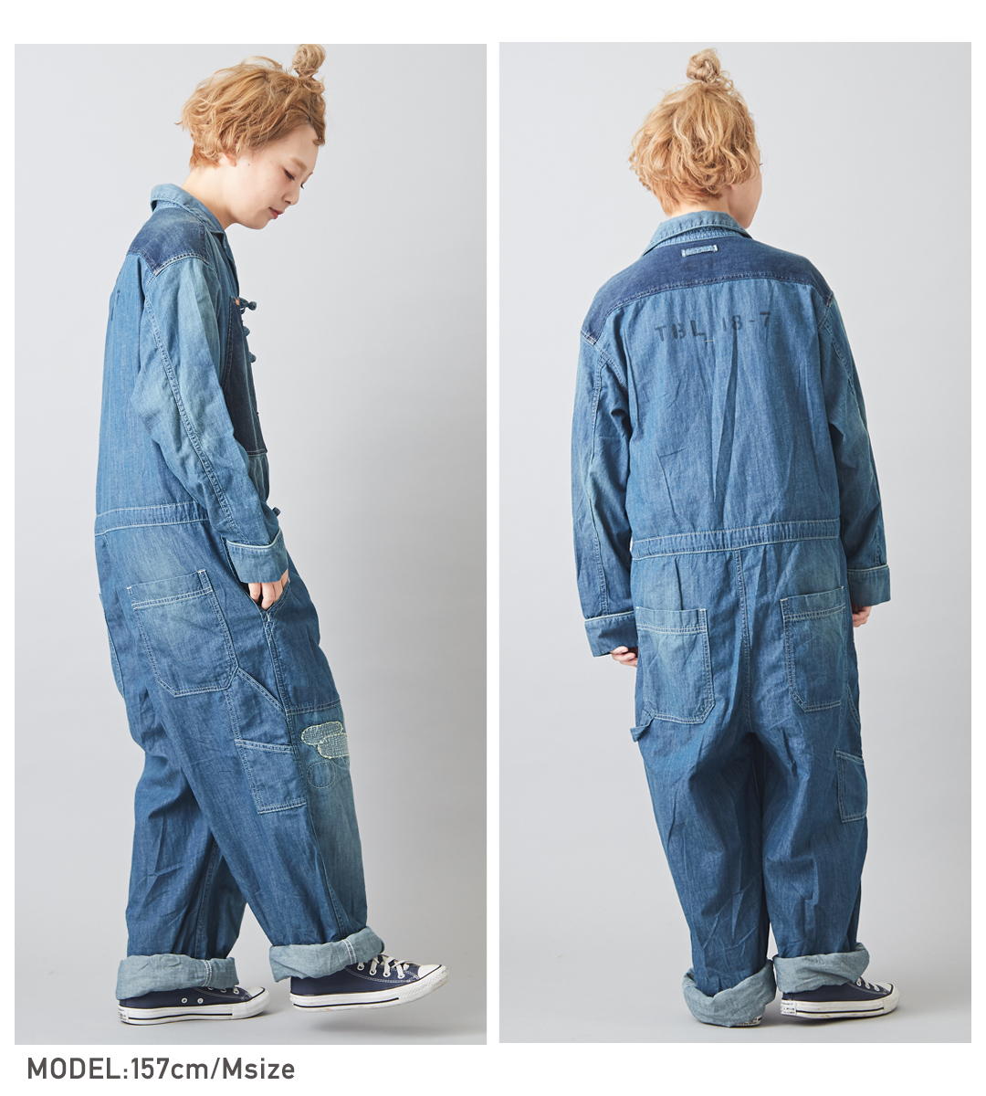 ジャンプスーツ/春新作/TOBILA(トビラ)7.5オンスデニムジャンプスーツ(2色):レディースサロペットオールインワンオーバーオールフルレングス長袖ロゴ