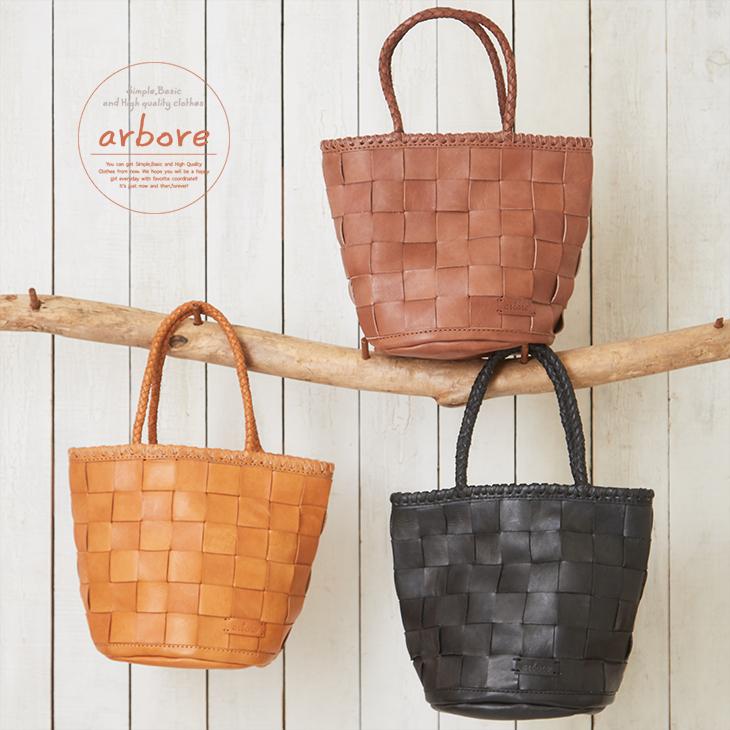 arbore(アーバー) レザー太メッシュラウンドボトムトートバッグ (3色)【レディース】【TAG】【鞄】【革】