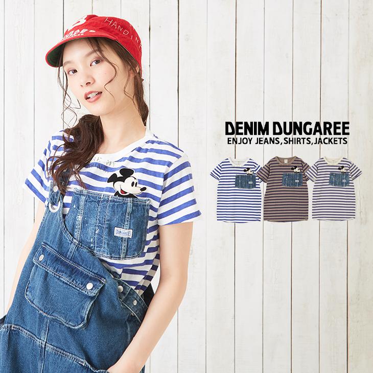 【セール除外商品】DENIM DUNGAREE(デニムアンドダンガリー) ビンテージテンジクMICKEYポケットTEE(3色)【レディース】【Tシャツ】【PL】【ディズニー】