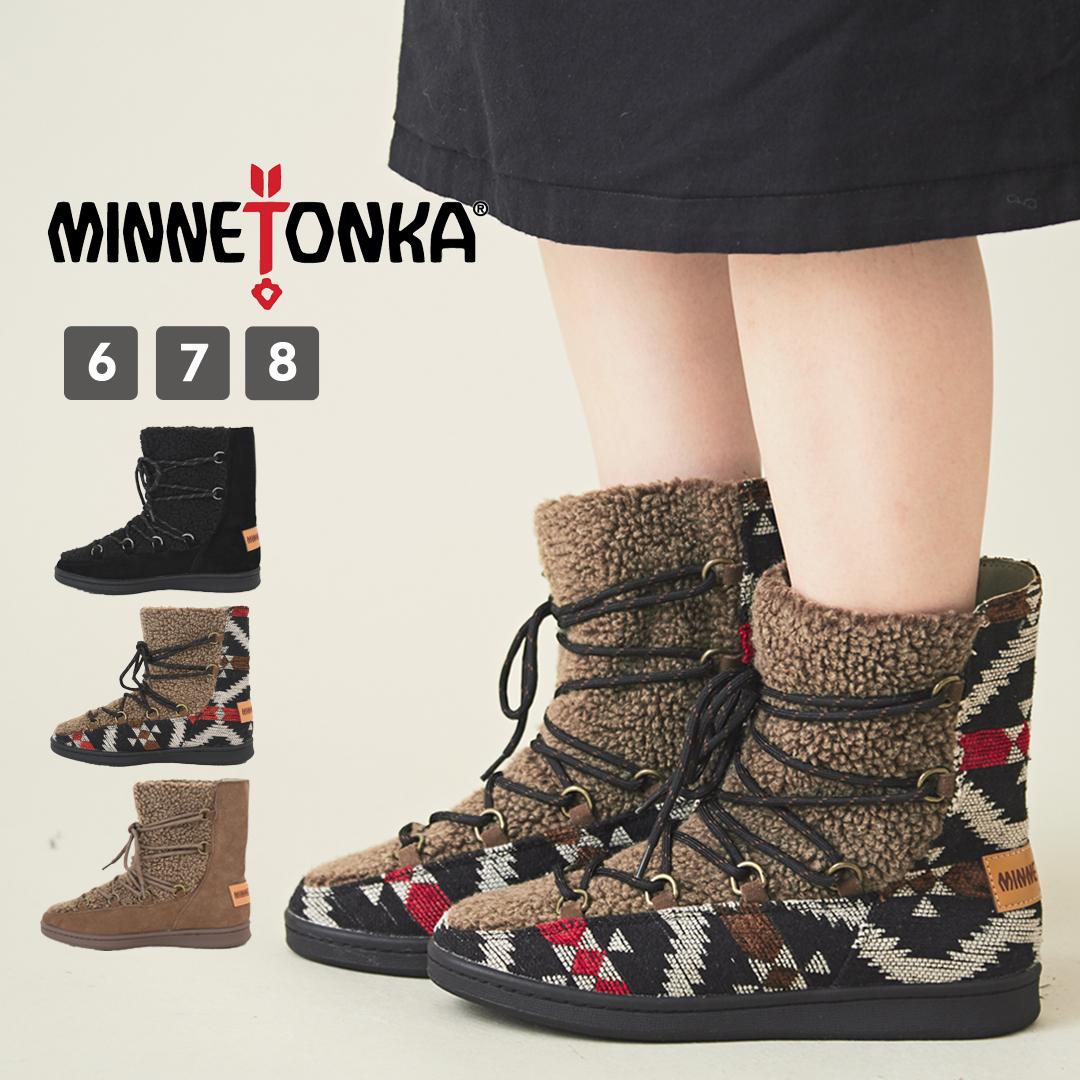 【アウトレット】ボアブーツ / MINNETONKA (ミネトンカ) ボアブーツ(3色)(S/M/L): レディース 靴 ブーツ シューズ ボア ネイティブ柄 レースアップ ミドル丈 異素材 23cm 24cm 25cm いろいろサイズ
