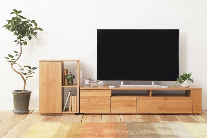 [送料無料][アルチェ/ナチュラル色/W120]天然木無垢材 高級素材 アルダー材 ウレタン塗装 シンプルデザイン スタイリッシュ 国産 安心安全 テレビボード 多機能収納
