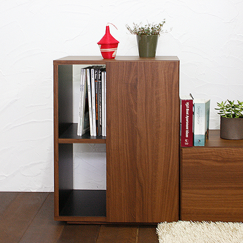 [送料無料]美しい木目調がオシャレ&可動棚が使いやすいサイドボード♪[カラー:ウォールナット]