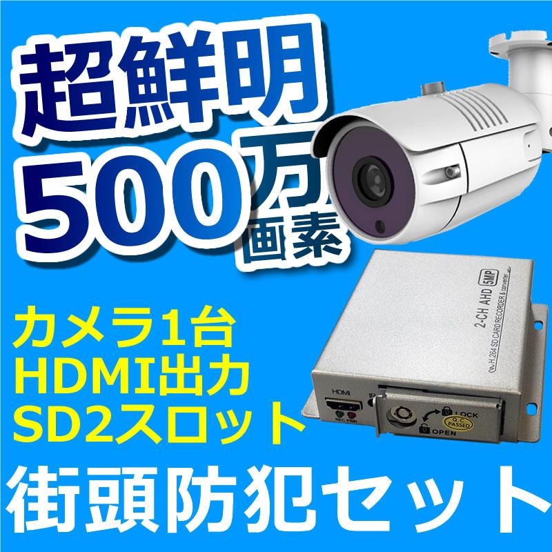 防犯カメラ 500万画素 屋外 1台セット バレット ドーム SDカード録画 レコーダーセット 街頭防犯