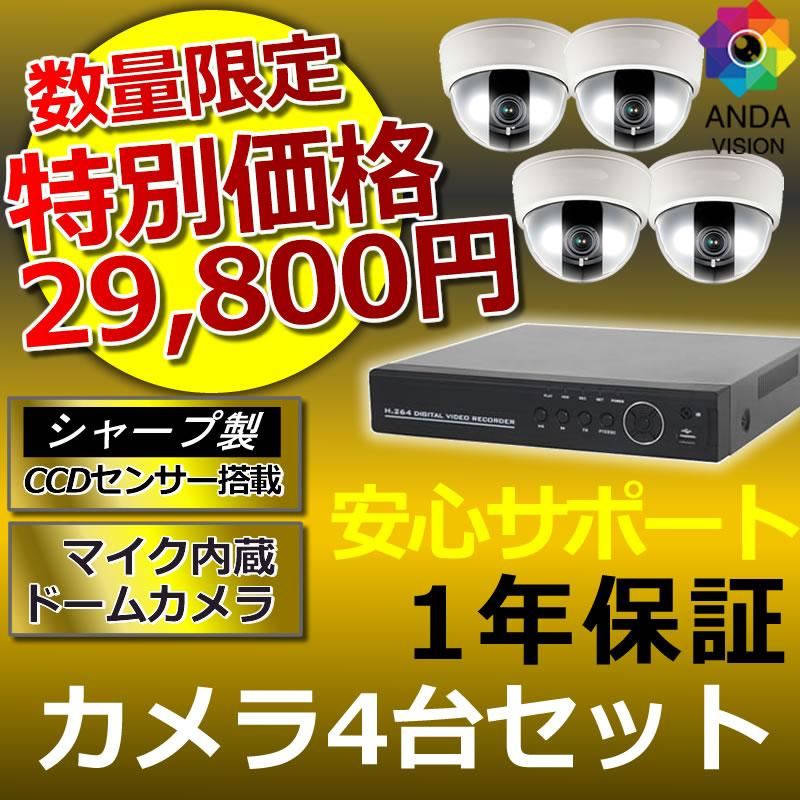 防犯カメラ 監視カメラ4台 レコーダーセット 録画機 ドーム 夜間対応 レコーダー HDD1TB AV-960HDSET