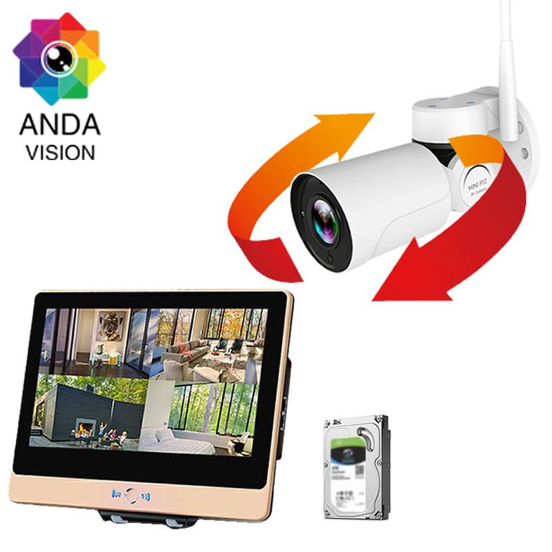 防犯カメラ ワイヤレス 屋外 セット 旋回 PTZ レコーダーセット (HDD1TB付き)AV-K1204PTZ