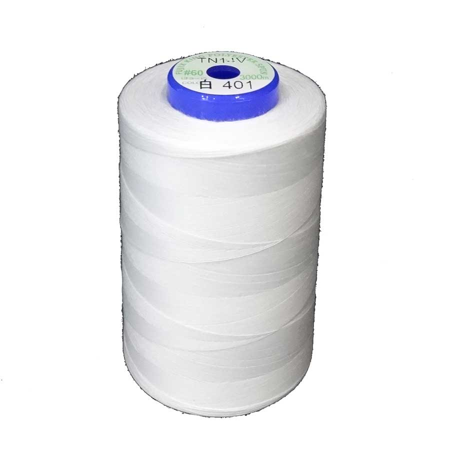 ギフ_包装 キングスパンミシン糸 1着でも送料無料 60番 3000m巻 色:白