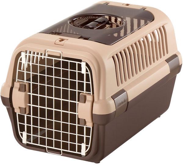 リッチェル キャンピングキャリー ダブルドアM 小型犬・猫用 ダークブラウン