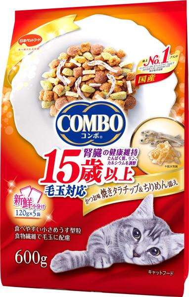 日本ペット コンボキャット 毛玉対応 贈答 15歳以上 かつお味 焼きタラチップ 600g いつでも送料無料 ちりめん添え