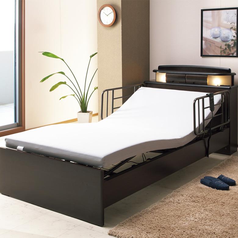 シングル電動ベッドフレーム シングルマットレス DW-650 セット 電動ベッド シングルベッド シングル 電動ベッドフレーム 高さ3段階調節 リモコン付 日本製マットレス 手すり付 宮付 ライト付 コンセント付 ダークブラウン 送料無料