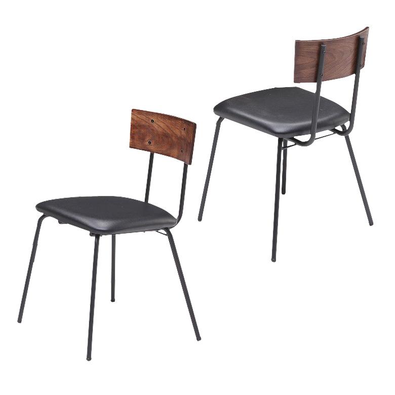 ダイニングチェア 椅子 2脚セット 肘なし ダイニング用 アイアンチェア アイアン スチール パイプ ヴィンテージ チェア 食卓チェア 食卓椅子 ブラウン ブラック ダイニングチェアー おしゃれ