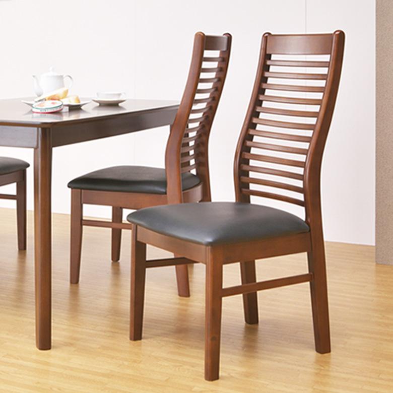 ダイニングチェア 椅子 2脚 ダイニング 1人掛け 単品 オーク 木目 PVC ラバーウッド 完成品 ゆるやか フィット 背もたれ 耐久性 重厚感 1人用 木製 ブラウン