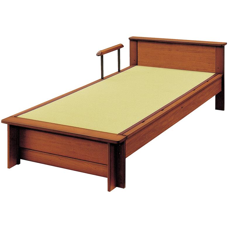 【25日最大ポイント15倍】 国産 畳ベッド 手すり付き 棚付き 日本製 シングル ロングサイズ たたみベッド シングルベッド タウン 木製ベッド フレームのみ 木製 イ草 通気性 調湿 ベッドフレーム ベッド ベット ブラウン 手すり1本付き 立ち上がり 支え