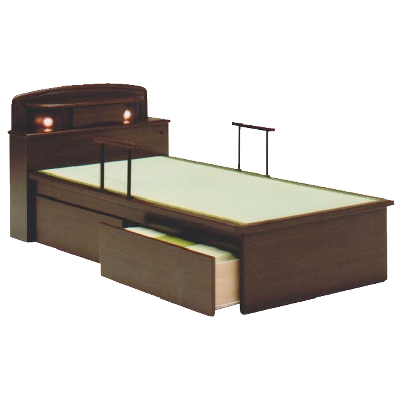 畳ベッド 宮付き 手すり 2本付き シングル たたみベッド 防虫 防カビ 畳 ライト付 シングルベッド 引出し 2杯 木製ベッド シンプル フレームのみ 木製 通気性 調湿 ベッドフレーム ベッド ベット ブラウン 手すり付き