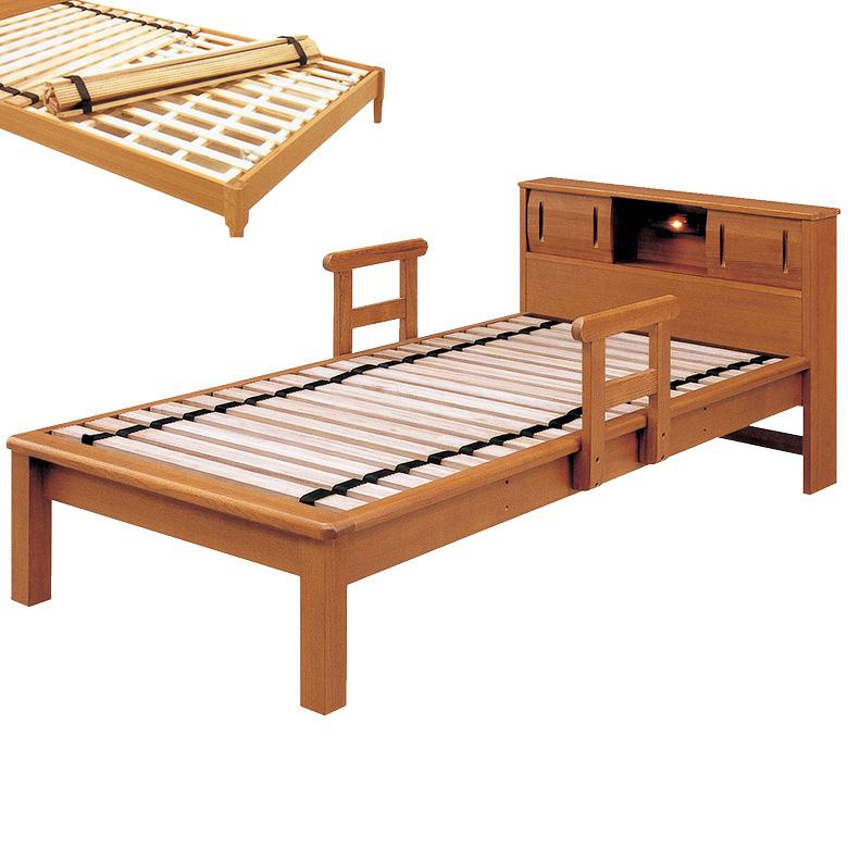 ベッドフレーム シングルベッド すのこベッド 宮付き ロングサイズ 手すり 2本付き シングル ローリング 脚付き レッグ ベッド 棚付 ライト付 木製ベッド フレームのみ タモ 木製 ライトブラウン ベット お掃除ロボット