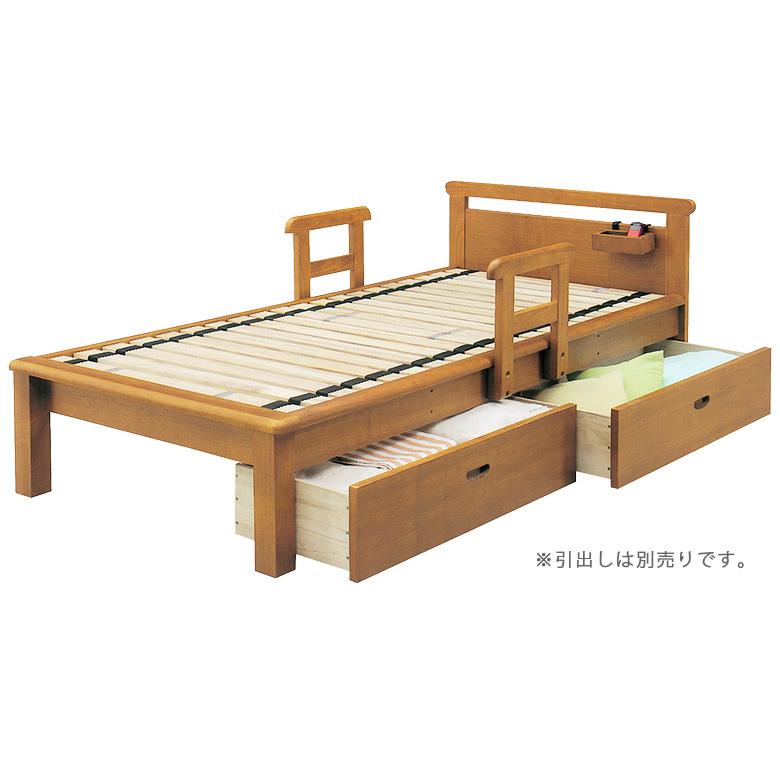 ベッドフレーム シングルベッド すのこベッド ロングサイズ ローリング 手すり 2本付き 小物入れ付 シングル 脚付き レッグ ベッド 木製ベッド フレームのみ タモ 木製 ライトブラウン ベット お掃除ロボット