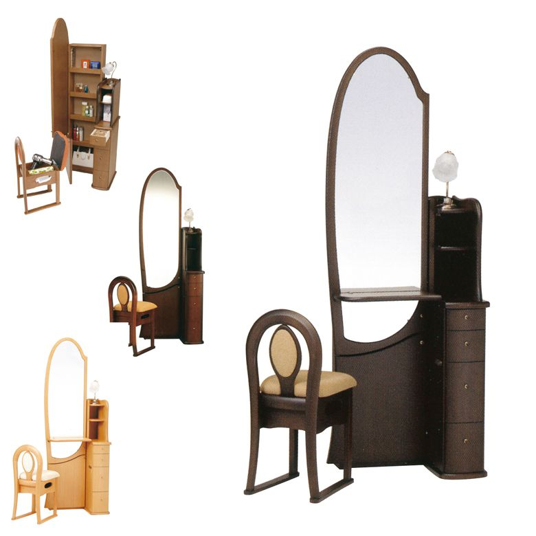 スーパーセール 5日最大P7倍 ドレッサー テーブル 可愛い ミラー 鏡 おしゃれ コンパクト 姿見 チェア付き 椅子付き 鏡台 引き出し付き 収納付き 国産 日本製 ブラウン ナチュラル 引出し 収納 姿見鏡 棚付き 木製 アンティーク