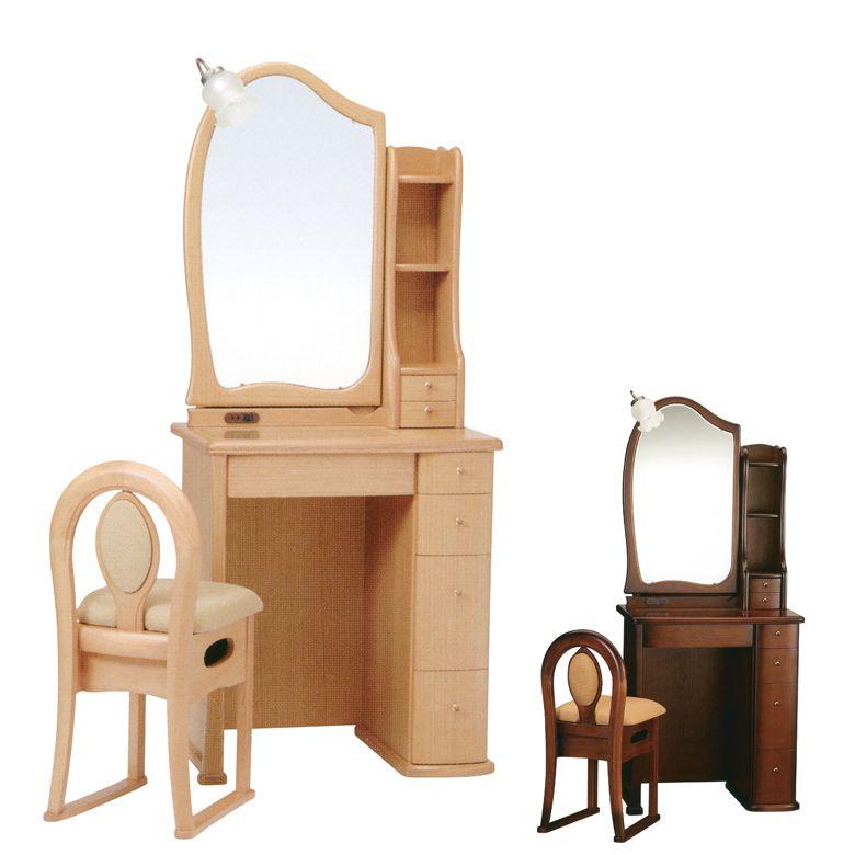 20日限定 最大ポイント15倍 ドレッサー デスク ライト付き 可愛い ミラー 鏡 おしゃれ コンパクト チェア付き 椅子付き 鏡台 コンセント付き 引き出し付き 収納付き 国産 日本製 ブラウン ライトブラウン アンティーク 引出し 収納 棚付き 木製