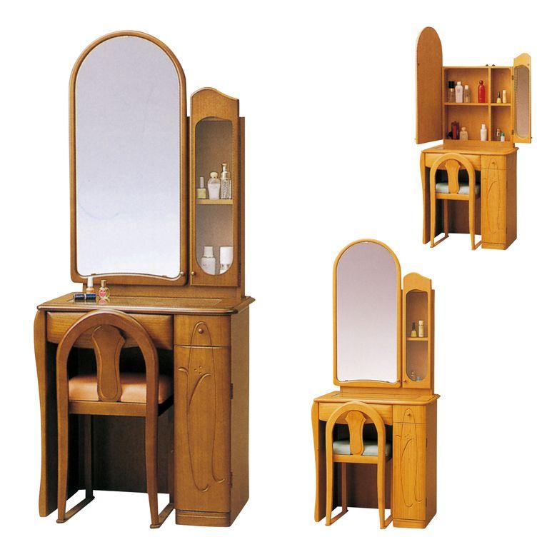 ドレッサー デスク 可愛い ミラー 鏡 おしゃれ コンパクト チェア付き 椅子付き 鏡台 一面 引出し付き 収納付き ブラウン ライトブラウン 引き出し 収納 開き戸収納 ガラス扉 椅子 チェア スツール 棚付き 木製
