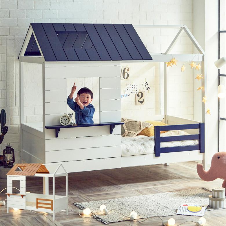 美品  ベッド おしゃれ シングルベッド コンパクト 子供用 子供部屋 組立 シングルサイズ シングル パイン ポプラ すのこ すのこ床板 すのこベッド ホワイト 白 ナチュラル ネイビー 屋根付き かわいい ツートン, ハワイアンハウス 8cc9e809