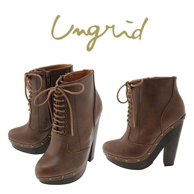 新色 UNGRID 送料無料 2013 WINTER アングリッド 永遠の定番 スタッズレースアップブーツ ブーツ ブラウン 111331088701 通販