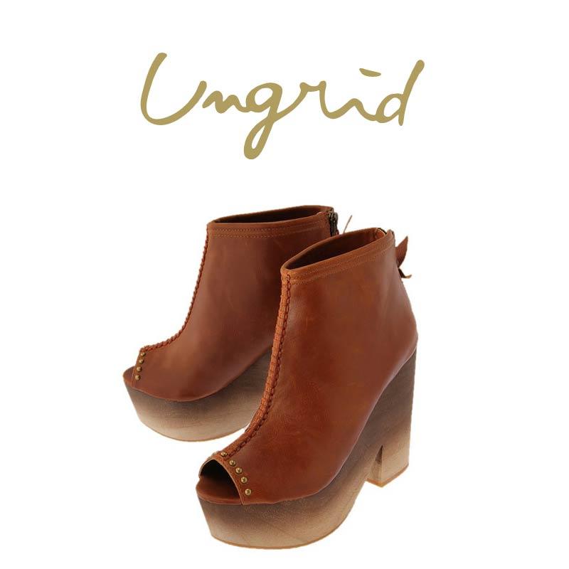 UNGRID 2014 SS 最新作 アングリッド 通販 サンダル 市場 キャメル 即納 ウッドブーティー 111411039201