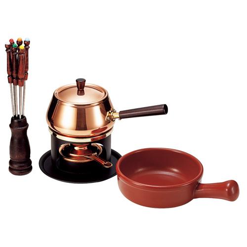 銅製 ミニチーズフォンデュ&オイルフォンデュセット S-736W